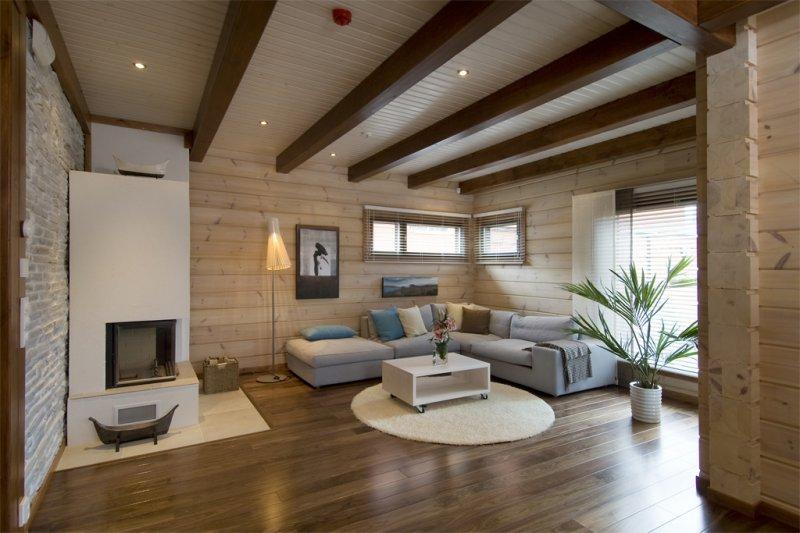 Дизайн гостиных под дерево
